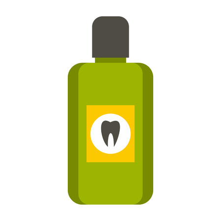 rinse: Mouthwash icon in flat style isolated on white background. Dental care symbol