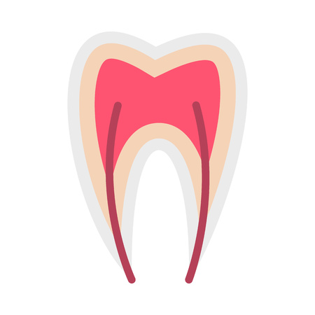 nerve: Tooth nerve icon in flat style isolated on white background. Treatment symbol