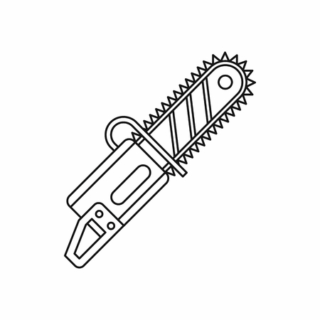 sawdust: Chainsaw icon in outline style isolated on white background