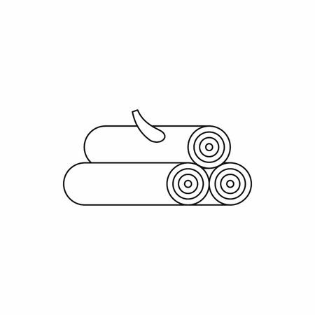 Icône de journal en bois dans le style de contour isolé sur fond blanc
