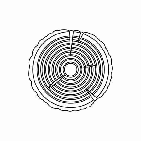 rings on a tree: Tree rings icon in outline style isolated on white background