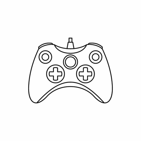 Joystick game controller icon in outline style isolated on white background