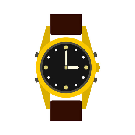 checking: Wrist watch icon in flat style isolated on white background. Time symbol Illustration
