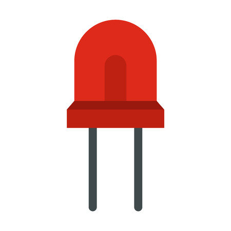 halogen: Red halogen lamp icon in flat style isolated on white background. Lighting symbol Illustration