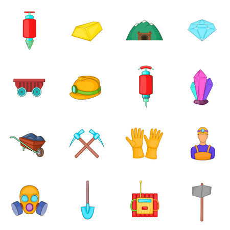 mining icons: Mining icons set in cartoon style. Quarrying industry set collection vector illustration