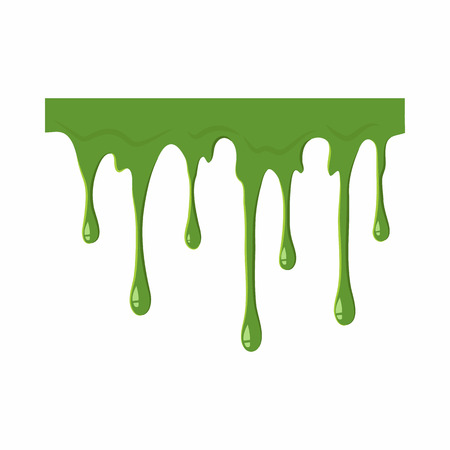 Oozing slime isolated on white background. Green slime vector illustration