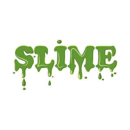 Mot de slime isolé sur fond blanc. Illustration vectorielle de mot slime vert Vecteurs