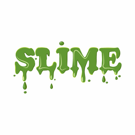 slime: Slime word isolated on white background. Green slime word vector illustration Illustration