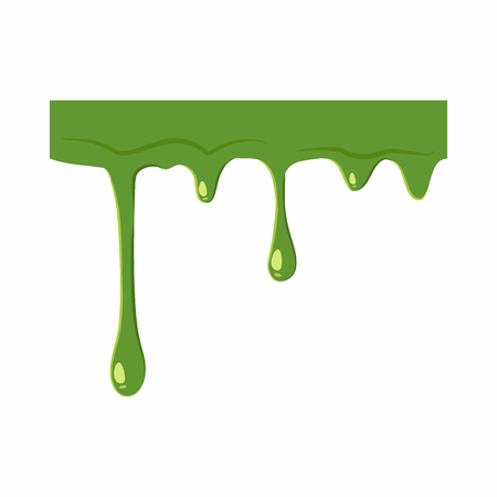 snot: Oozing slime isolated on white background. Green slime vector illustration