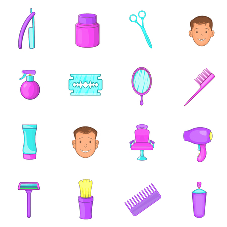 Barbershop icons set in cartoon style. Man set collection vector illustration Illustration