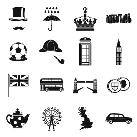 Les icônes de la Grande-Bretagne sont définies dans un style simple. London set collection illustration vectorielle Banque d'images - 61466191