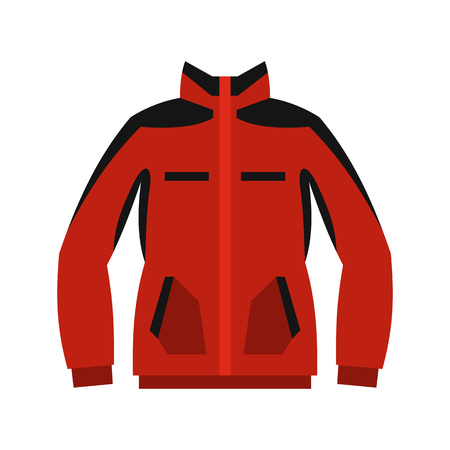zipper hooded sweatshirt: Red sweatshirt with a zipper icon in flat style on a white background Illustration