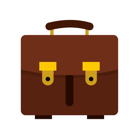 brown leather: Brown leather briefcase icon in flat style on a white background