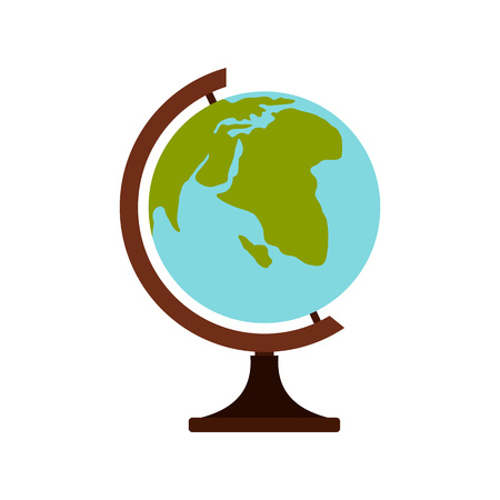 terrestrial: Terrestrial globe icon in flat style on a white background