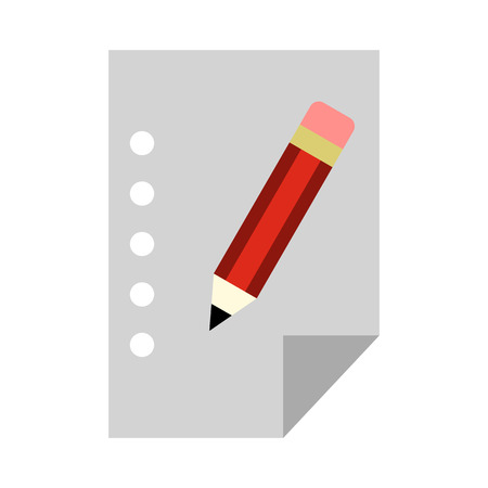 Blank sheet of paper and a pencil icon in flat style on a white background