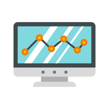 ascendant: Computer monitor with business graph icon in flat style on a white background