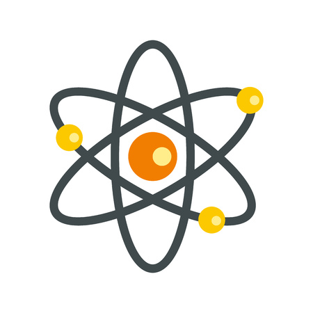 electrons: Atom with electrons icon in flat style on a white background