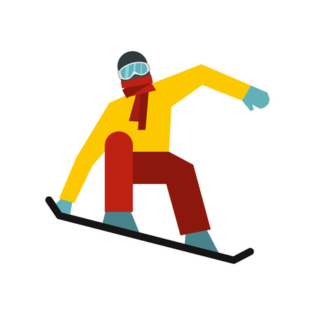 Snowboarder on the snowboard deck icon in flat style on a white background Illustration