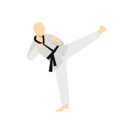 wushu: Wushu fighting style icon in flat style on a white background