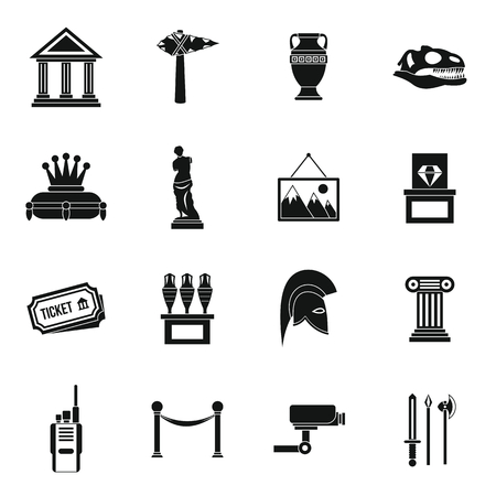 artefact: Museum icons set in simple style. Antique and culture symbols set collection vector illustration