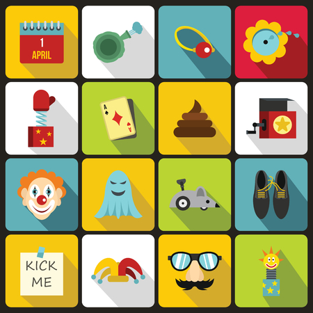 prank: April fools day icons set in flat style. Prank playful actions set collection vector illustration Illustration