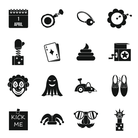 April fools day icons set in simple style. Prank playful actions set collection vector illustration Illustration