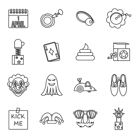 idiot box: April fools dayicons set in outline style. Prank playful actions set collection vector illustration Illustration