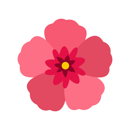 Rose of Sharon icon in flat style on a white background Vetores