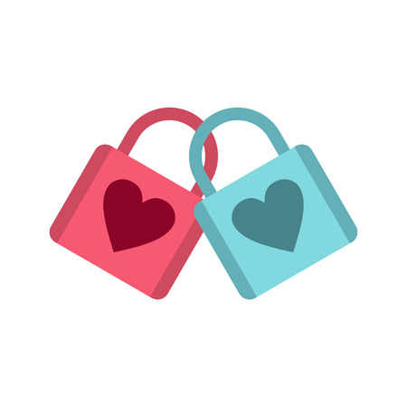 popular belief: Blue and pink padlocks with heart icon in flat style on a baby whute background Illustration