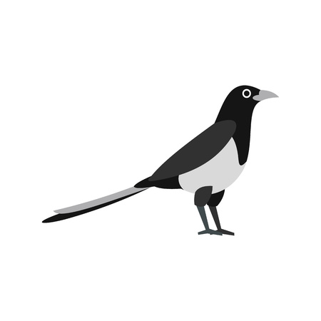 Magpie icon in flat style on a white background Illustration