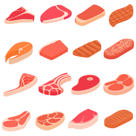 pork rib: Steak icons set in cartoon style. Meat set collection vector illustration