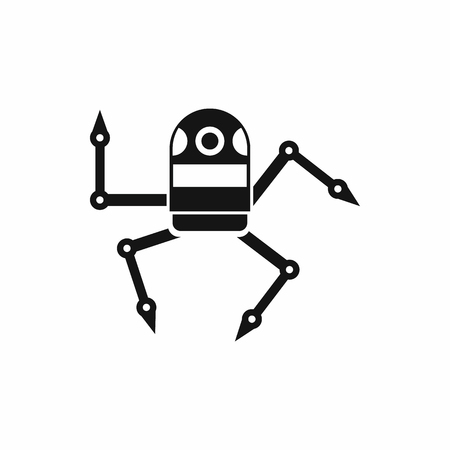 menacing: Spider robot icon in simple style isolated on white background