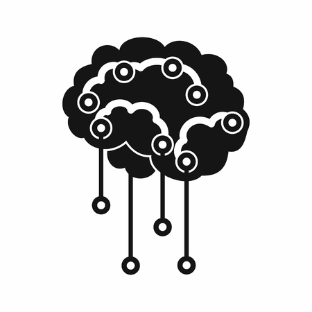 sensors: Sensors on human brain icon in simple style isolated on white background