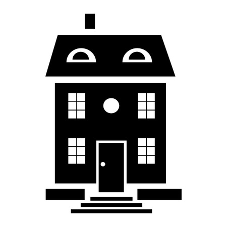 family isolated: Family house icon in simple style isolated on white background Illustration