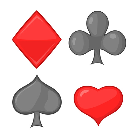 clubs diamonds: Card suits icon in cartoon style isolated on white background. Game symbol