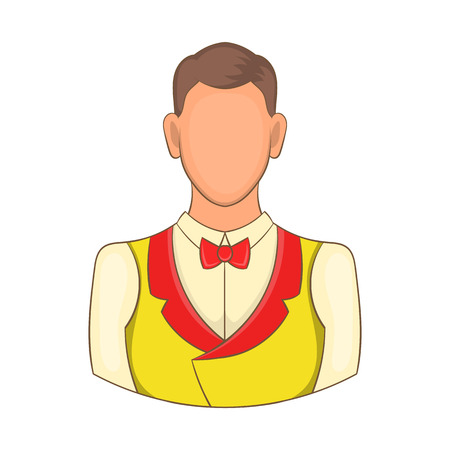 croupier: Croupier icon in cartoon style isolated on white background. Worker symbol