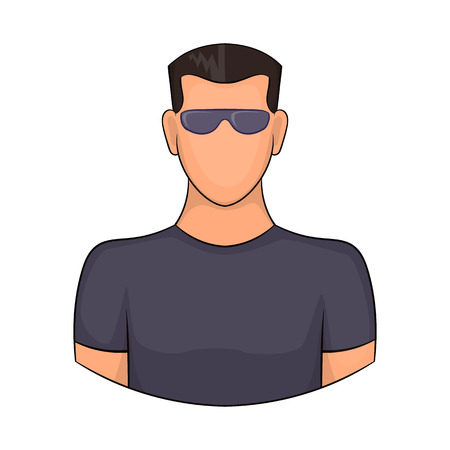 sturdy: Man in glasses icon in cartoon style isolated on white background. People symbol Illustration