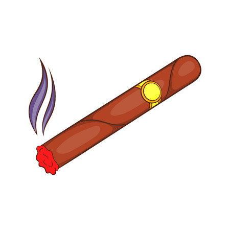 Cigar icon in cartoon style isolated on white background. Smoking symbol Illustration
