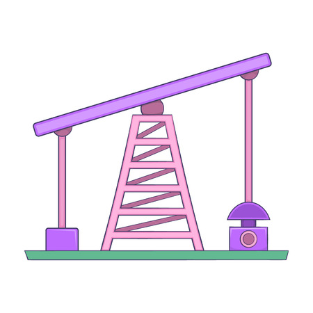 oilfield: Oil rig icon in cartoon style isolated on white background. Extraction symbol