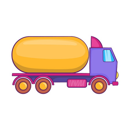 Truck carries petrol icon in cartoon style isolated on white background. Transportation symbol