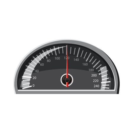 km: Speedometer 120 km in hour icon in cartoon style isolated on white background. Speed measurement symbol