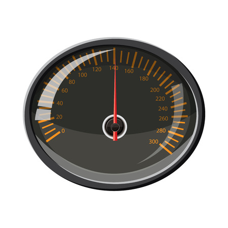 km: Speedometer 140 km in hour icon in cartoon style isolated on white background. Speed measurement symbol