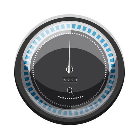calculate: Speedometer to calculate speed icon in cartoon style isolated on white background. Speed measurement symbol