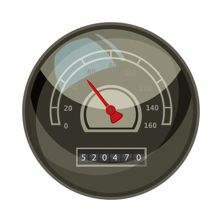 car speed: Speedometer with red arrow for car icon in cartoon style isolated on white background. Speed measurement symbol