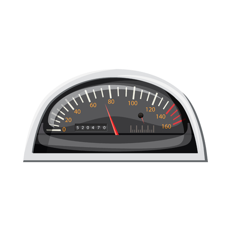 car speed: Small speedometer for car icon in cartoon style isolated on white background. Speed measurement symbol Illustration