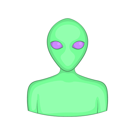 Alien icon in cartoon style isolated on white background. Inhabitants other planets symbol