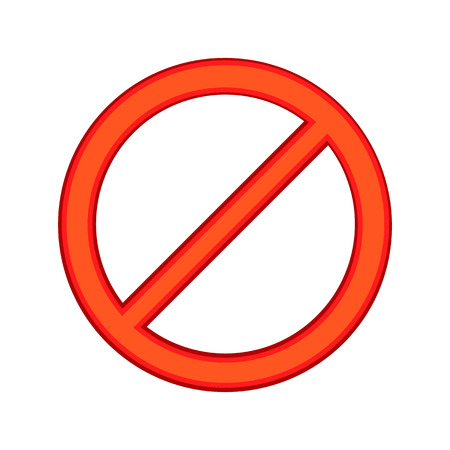forbid: Red sign ban icon in cartoon style isolated on white background. Warning symbol Illustration