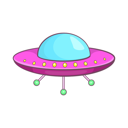 unidentified flying object: UFO icon in cartoon style isolated on white background. Unidentified flying object symbol