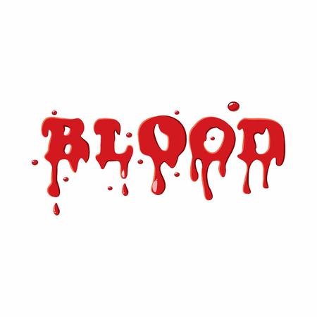 Word blood icon isolated on white background. Liquid symbol