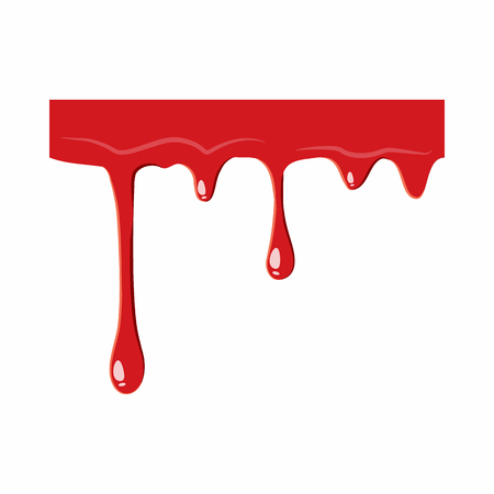 haemorrhage: Flowing drop of blood icon isolated on white background. Liquid symbol